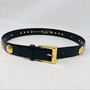 Vintage Escada black leather belt dice studded S